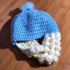 Other - handmade knit hat with beard for baby 12M